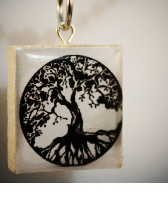 Handmade Tree of Life, Scrabble Pendant, Scrabble Necklace, Celtic, Tree, Blue Sky, Tree Branch, Black, White, Recycled, Eco, Unique Gift,