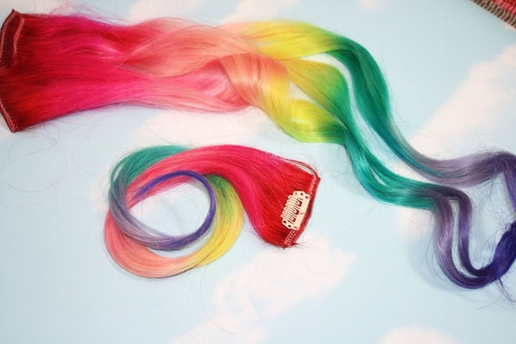 Rainbow human hair extensions colored hair extension clip like this item pmusecretfo Images
