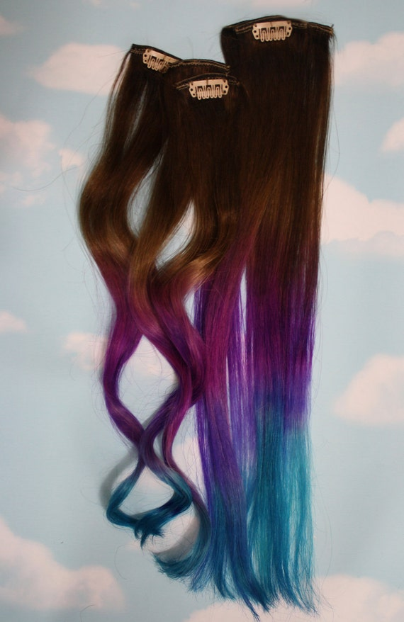 Blue and purple hair extensions purple turquoise human blue and purple hair extensions purple turquoise human hair weave colored hair extension clip clip in hair dip dyed hair full head pmusecretfo Image collections
