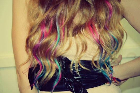 Pastel Tie Dye Hair Tips, Dirty Blonde, Human Hair Extensions, Colored Hair Clip, Hair Wefts, Clip in Hair, Tie Dye, Dipped Dyed Hair