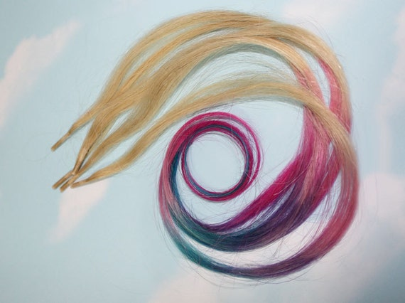 Pastel Tie Dye iTips, Pre Bonded Keratin Tip, Human Hair Extensions. Colored Hair, Dip Dyed Hair, Festival, Tie Dye Hair Extensions