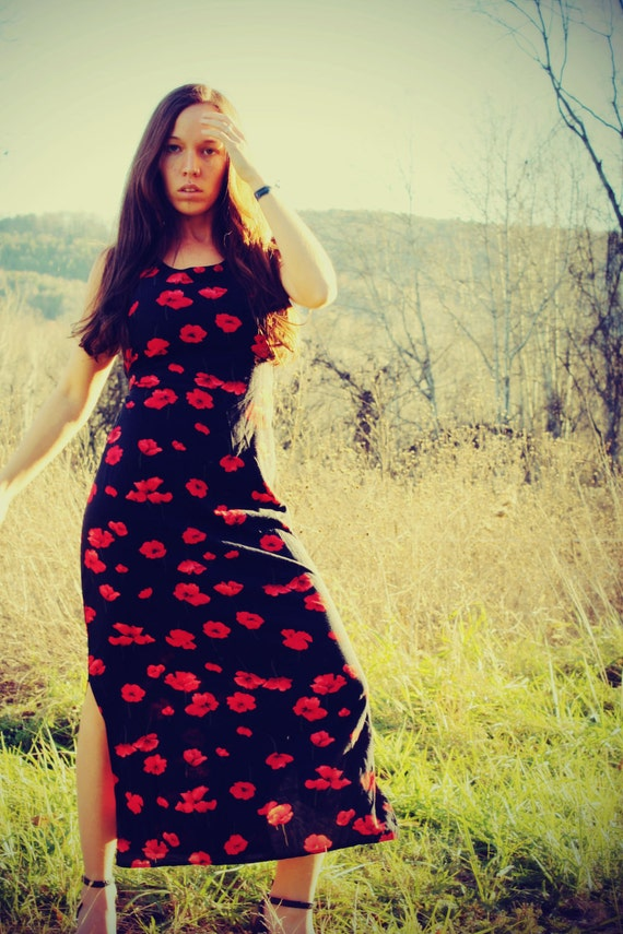 Poppies Will Put You to Sleep, Vintage Poppy Hippie Dress, Long, Bohemian, Maxi, Adjustable Dress, Festival Dress