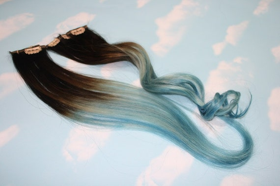 Light Blue Dip Dyed Hair Extensions For Brown Hair, 20-22 inches long, Clip In Hair Extensions, Hippie Hair, Pastel Festival Hair
