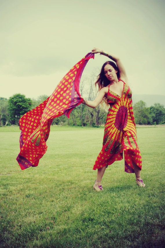 Coral Long Hippie Dress, Bohemian, Tapestry, Sundress, Halter Dress, Scarf Dress, Fairy Dress
