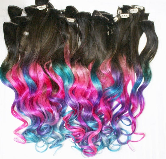 Ombre Dip Dyed Hair, Clip In Hair Extensions, Tie Dye Tips, Brunette Hair, Hair Wefts, Human Hair Extensions, Hippie hair