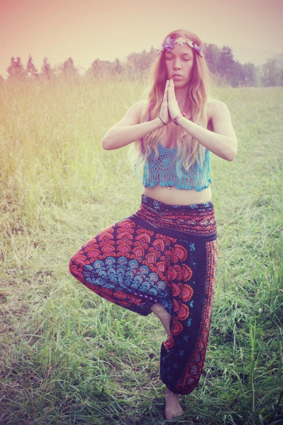 Handmade Harem Pants, Gypsy Pants, Romper, Aladdin, Genie, Hippie Skirt, Yoga, India, Pants-Wear Two Different Ways