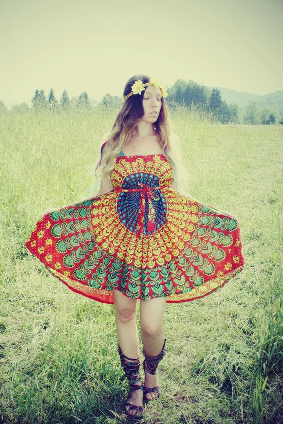 Handmade Hippie Peacock Wrap Skirt, Wrap Dress, Boho, Hippie, Gypsy, Magic Skirt, Sunburst, Peacock Print, Skirt, Bohemian, Bohemian