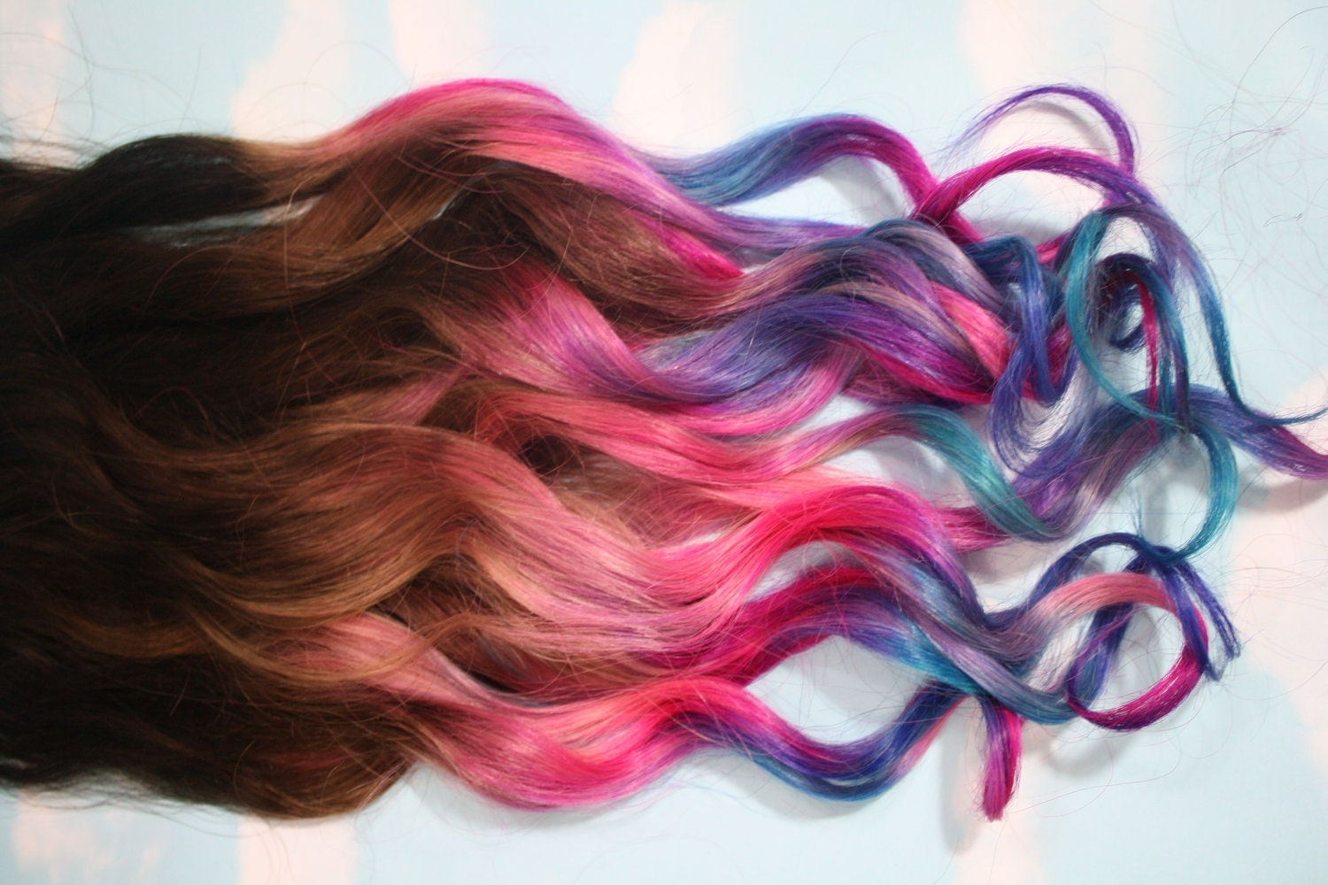 ombre dip dyed hair clip in hair extensions tie dye tips. Black Bedroom Furniture Sets. Home Design Ideas