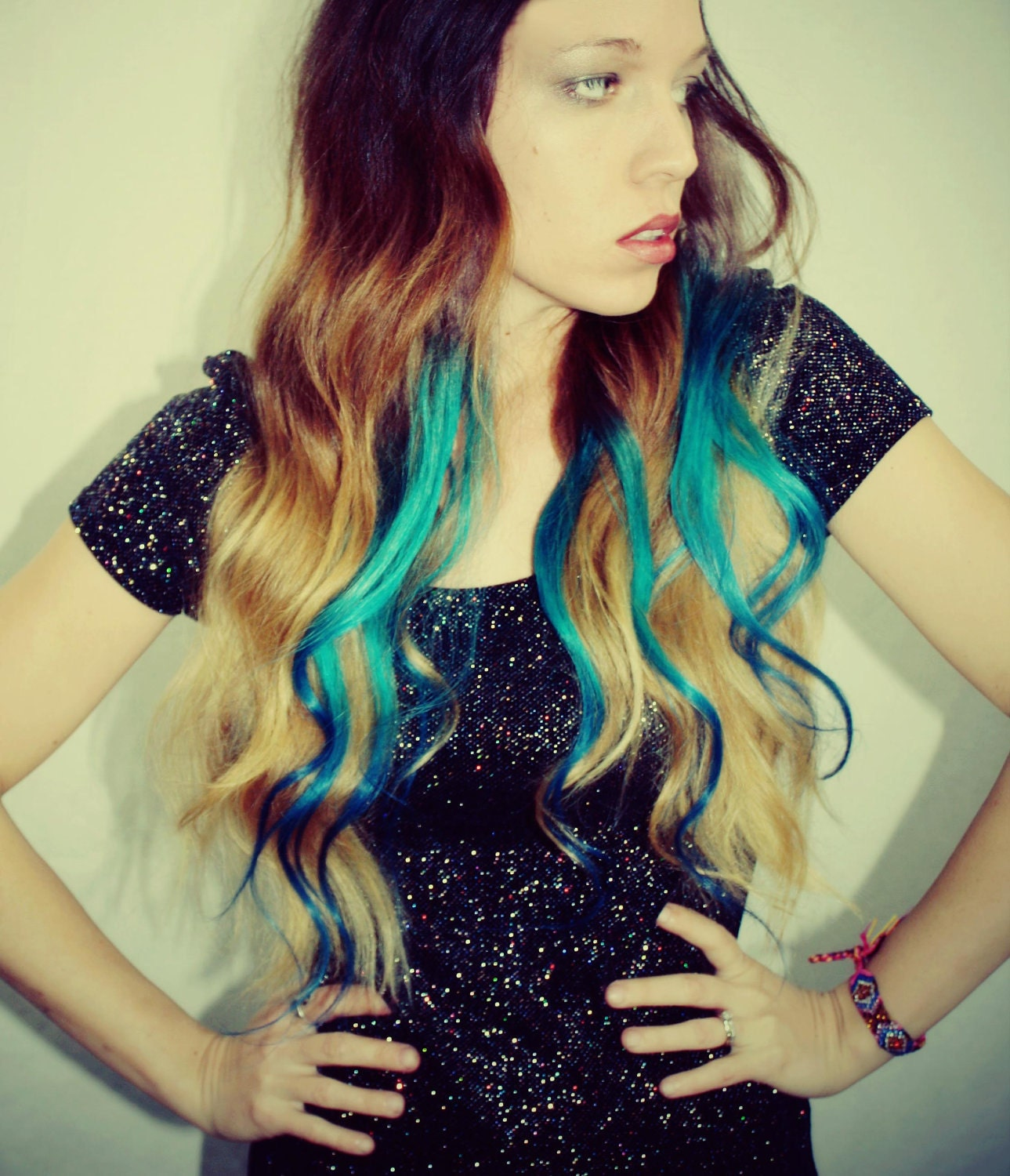 black to turquoise ombre hair - photo #15