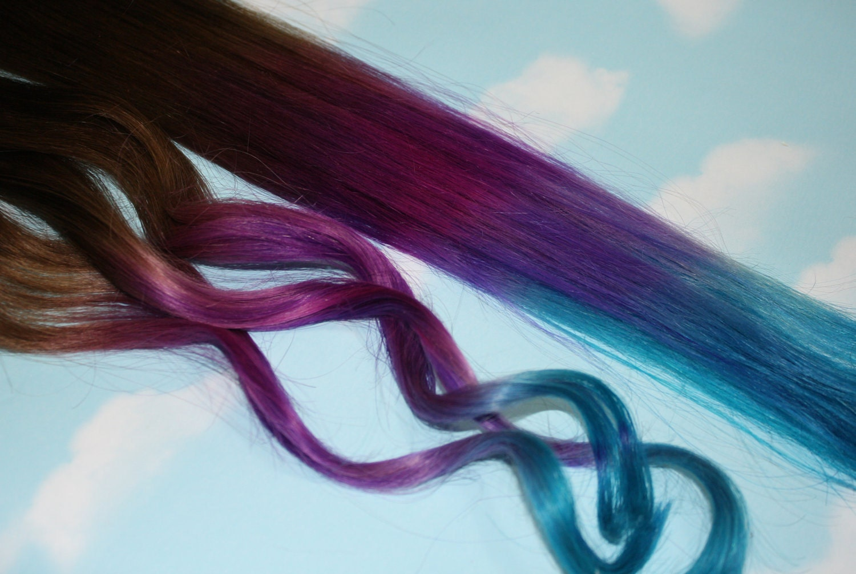 Purple blue tie dye tips purple turquoise human hair zoom pmusecretfo Images