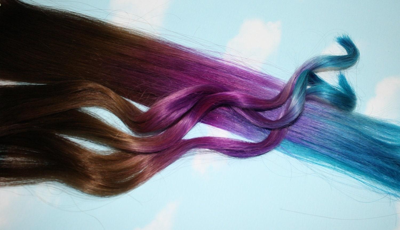Purple Blue Tie Dye Hair Tips Purple Amp Turquoise Human