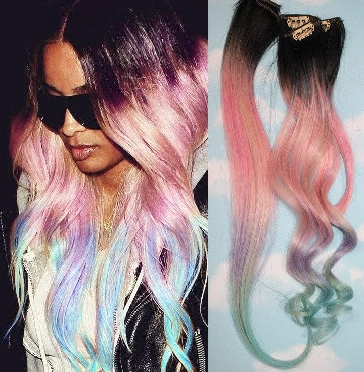 UnicornPastel Dip Dyed Hair Clip In Hair Extensions Tie Dye