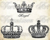 Graphic CROWNS SET. Digital Image Sheet. Printable download. Transfer french print collage. 611