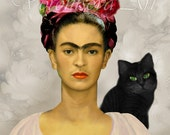 FRIDA KAHLO with Black cat . Printable collage sheet . digital graphic image download .078