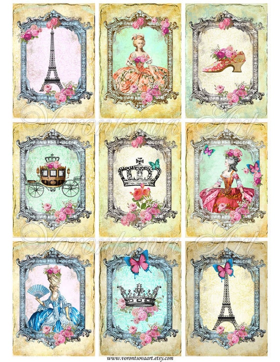 VINTAGE gift tags. Eiffel Tower  - Paris - Marie Antoinette - Digital Collage Sheet Printable. invitations, scrapbooking, bookmarks 918