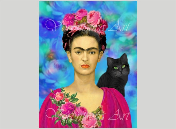 Frida Kahlo With Black Cat