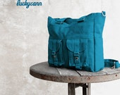 BAILEY // Teal / Lined with Dark grey / 024 // Ship in 3 days // Messenger / Diaper bag / Shoulder bag / Tote bag / Purse / Gym bag
