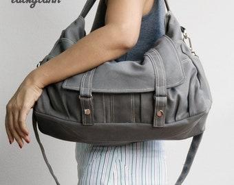 ASTER // Dark Grey / Lined with Beige / 011 // Ship in 3 days // Messenger / Diaper bag / Shoulder bag / Tote bag / Purse / Gym bag