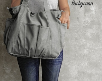 IRIS // Dark Grey / Lined with Beige / 051 // Ship in 3 days // Messenger / Diaper bag / Shoulder bag / Tote bag / Purse / Gym bag