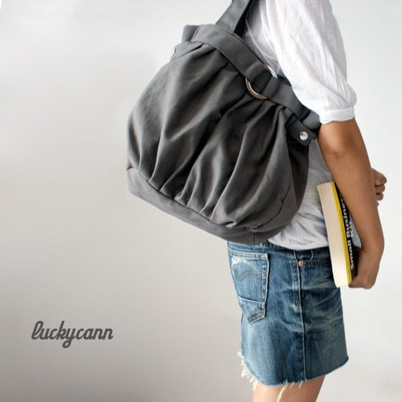 FERN // Dark Grey // 041 // Canvas Bag by Luckycann // Holiday Sale // 10% off