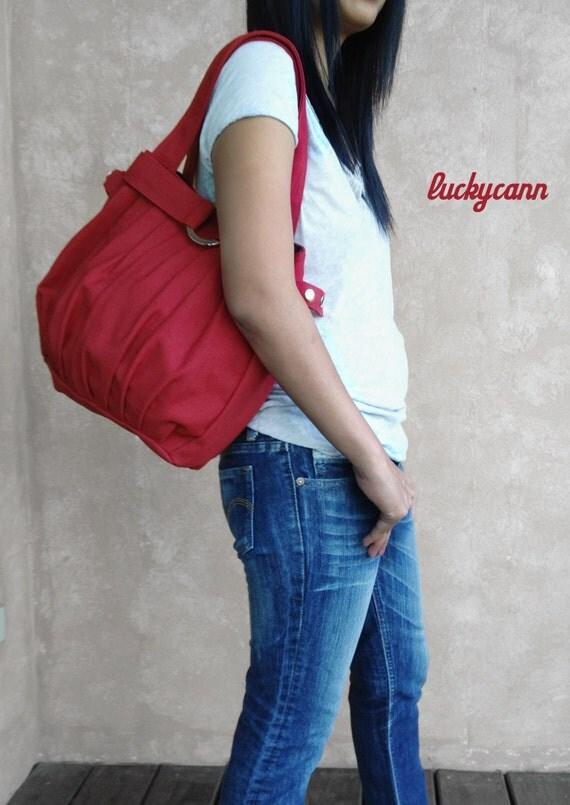 FERN // Dark Red // 043 // Hand made canvas bag // Luckycann // Holiday Sale // 10% off