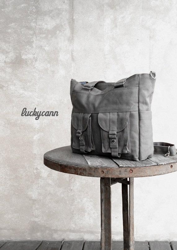BAILEY // Dark Grey / Lined with Dark Grey / 021 // Ship in 3 days // Messenger / Diaper bag / Shoulder bag / Tote bag / Purse / Gym bag
