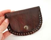 Leather Coin Purse Hand Stitched Handmade Dark Brown