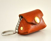 Handmade Mustard Leather Mini Bag Key Chain Key Ring Gadget Case Amber Honey Caramel with gold snap