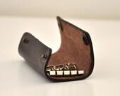 Small Dark Brown Handmade Leather Key Holder Chic Elegant