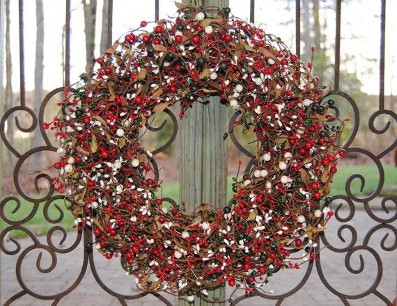 Christmas Wreath - Outdoor Wreath - Berry Wreath - Red Green White-Black Friday Thru Cyber Mon Free Wreath Hanger