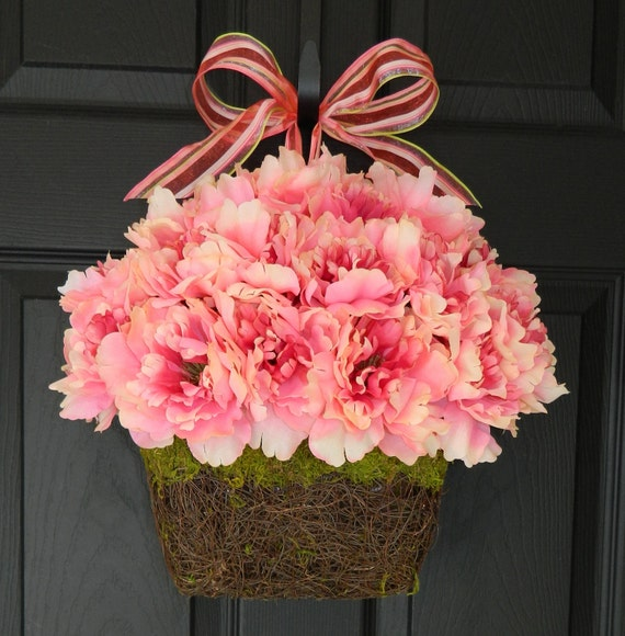 Spring Wreath Wall Basket Door Wreath Alternative Spring