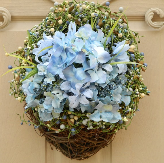Spring Wreath - Outdoor Wreath  - Hydrangea Wreath - Berry Wreath - Wall Basket