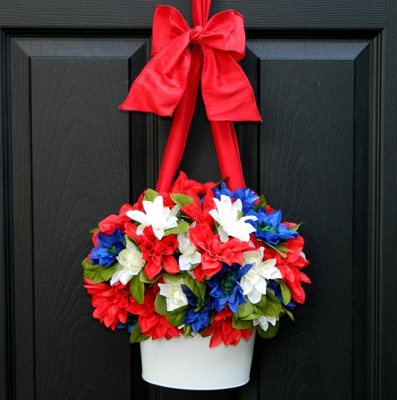 Patriotic Wreath - Alternative - July 4 Door Decor - Red White Blue Wreath - Memorial Day Wreath