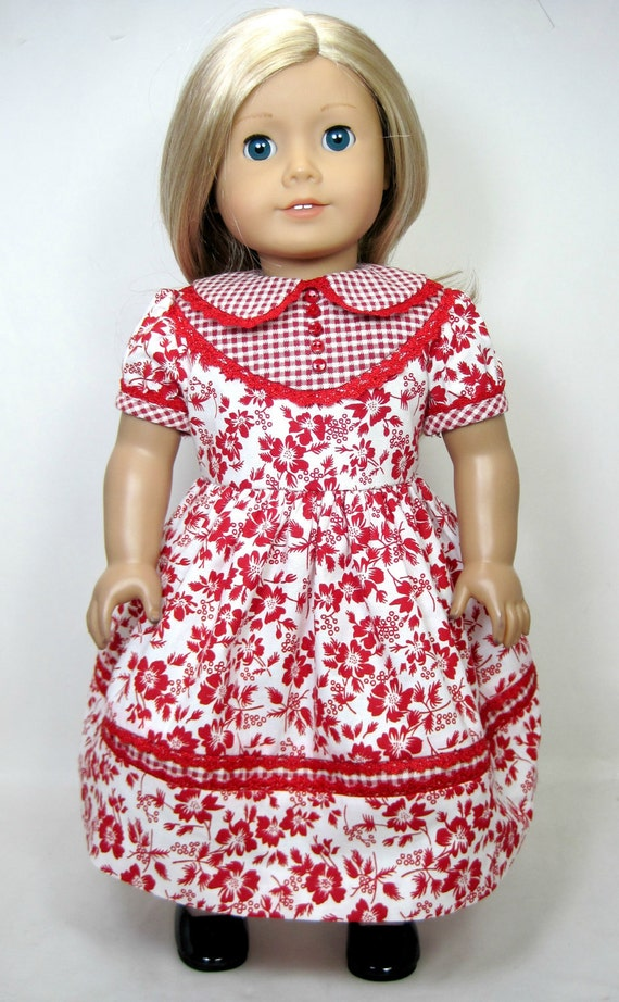 Vintage style red and white floral dress that fit 18 inch doll like American girl doll (1920 to 1970)