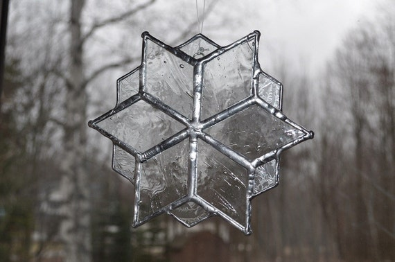 Icy stained glass snowflake suncatcher
