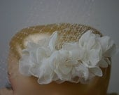 Ivory Birdcage Wedding Veil with hand cut flowers Vintage Wedding Inspired New