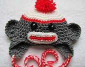 Sock monkey hat with red trim for newborn 0 - 3 months