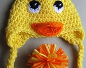 yellow duck hat for baby 0-3 months
