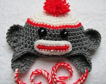 Sock monkey hat with red trim for newborn 0-3 months