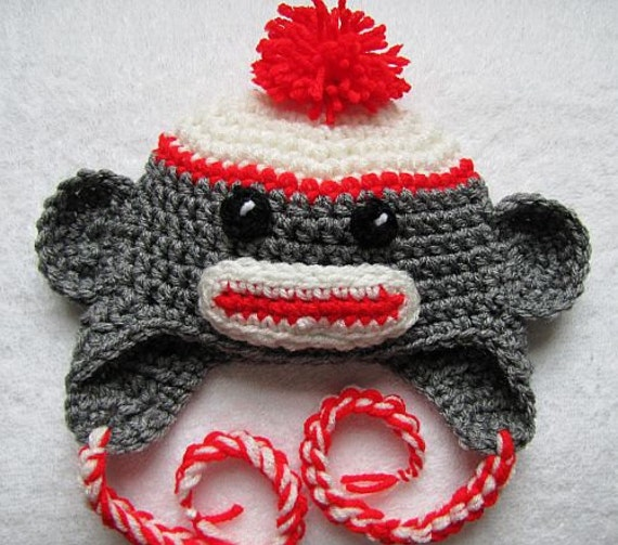 Sock monkey hat for newborn (0 - 3 mon)