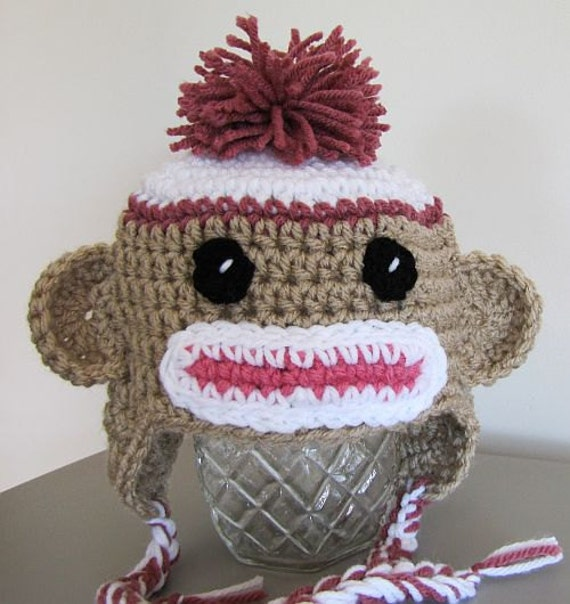 sock monkey for newborn in linen and country rose (0 - 3 mon)