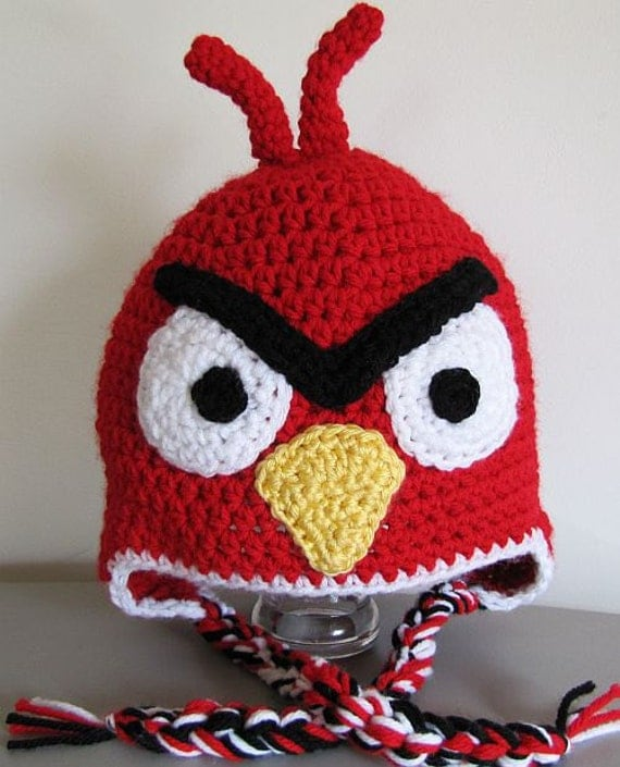 Crochet Hat Pattern Angry Bird : Angry bird hat adult size by GrammiesHats on Etsy
