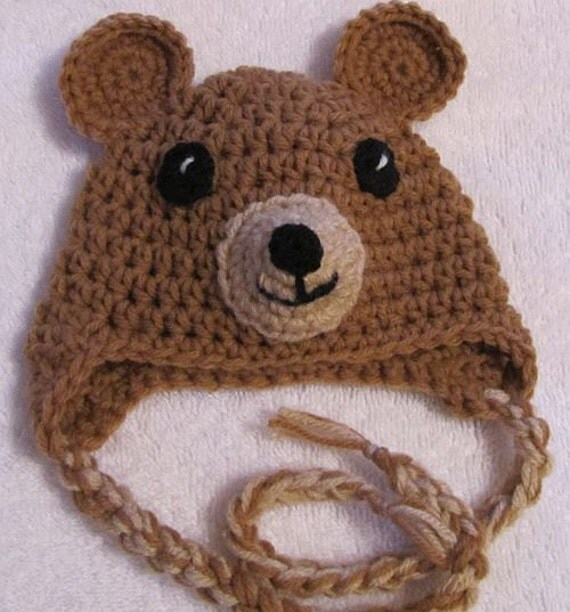 brown baby bear beanie with earflaps and strings sized for 0-3 months