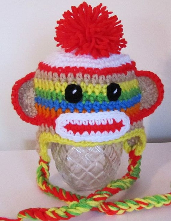 Rainbow sock monkey hat for baby 0-3 months