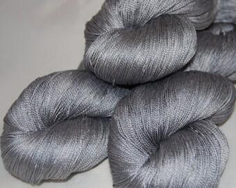 Silver star- Mulberry silk 100% (2ply ,) handdyed yarn 100g