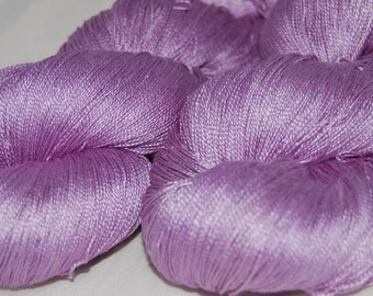 Lilac- Mulberry silk 100% (2ply ,) handdyed yarn