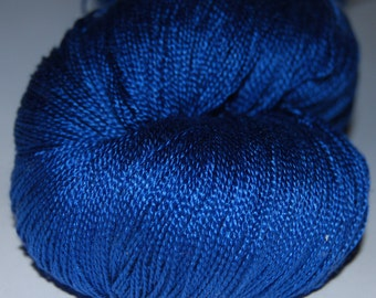 Mulberry silk lace yarn (2ply ,) 100 g (3.5 oz) hand dyed -Royal blue