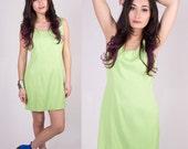 Vintage Neon Green Dress Size Medium/Large