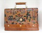 Vintage Hieroglyphics Egyptian Leather Purse / Case / Handbag Rare