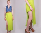 LPM Redesigned Vintage SILK Neon Cut Out Skirt Asymmetrical Size Large